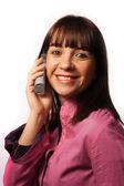 Frau auf dem telefon lächeln — Stockfoto