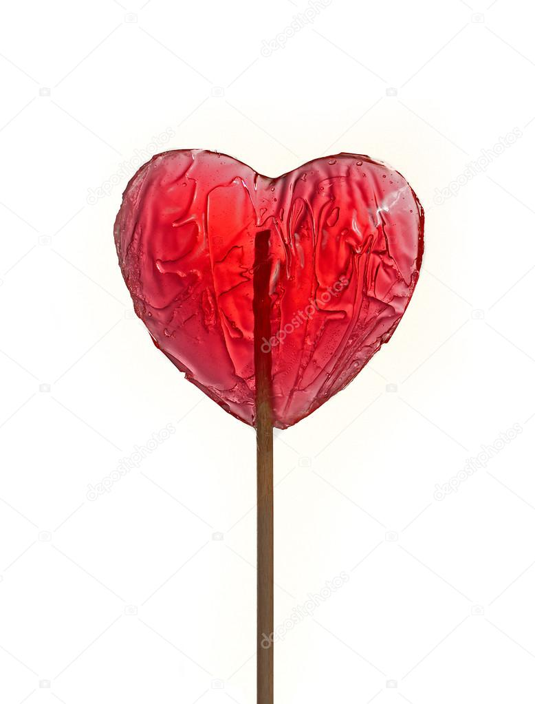 Heart shape red lollipop isolated over white background — Stock Photo #14673055