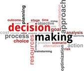 Word cloud - decision making — Stockvector