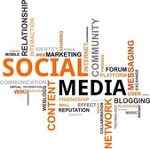 Word cloud - sociale media — Stockvector
