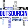 Stock Vector: Word cloud - outsourcing