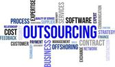 La palabra nube - outsourcing — Vector de stock