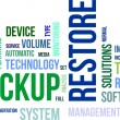 Stock Vector: Word cloud - backup restore