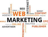 La palabra nube - web marketing — Vector de stock