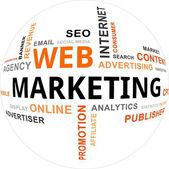 Word cloud - web marketing — Stockvector