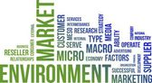 Word cloud - market environment — Stock Vector