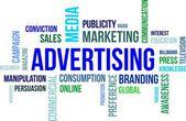La palabra nube - publicidad — Vector de stock
