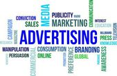 Słowo cloud - reklama — Wektor stockowy
