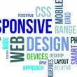 Word cloud - responsive web design — Vector de stock #31304199