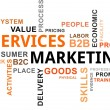 Word cloud - services marketing — Imagen vectorial