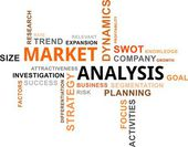 Word cloud - market analysis — Stock Vector