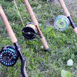 Equipment for fly fishing — Stock Photo