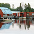 Stock Photo: Red painted boathouse
