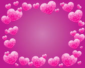 Corazón rosa marco backround — Vector de stock