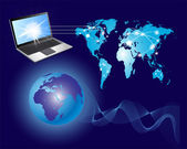La comunicación global, mapa del mundo y la computadora — Foto de Stock