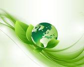 Zielony streszczenie ekologia glob backround — Wektor stockowy