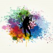 The Dancer Girl is in the Colorful Splashing — Stock Vector #22027187