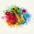 The saxophone in the colorful splashing — Stock Vector #22027193