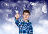 The Boy is Touching to the Space — Stock Photo