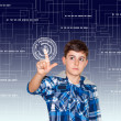 The Boy is Touching to the Technology — Stock Photo