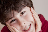 Happy teen with braces — Stock Photo