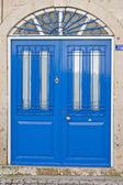 Porta in legno blu — Foto Stock
