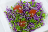 Green Fresh Salad with Tomato and red cabbage — Stock Photo