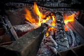 Closeup of camping fire — Stock Photo