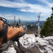 Stock Photo: Hiking boot on stone