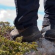 Foto Stock: Hiking boots on stone close up