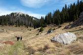 Gruppe Bergsteiger Wandern, Wandern-Marken auf dem Stein — Stockfoto
