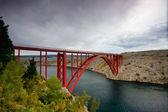 Red suspension bridge — Stock Photo