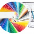 Color palette guide with architecture drawing — Stockfoto