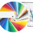 Color palette guide with architecture drawing — Stockfoto #16793721