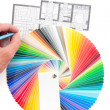 Color palette guide with architecture drawing — 图库照片