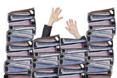 Busy officer hands with files — Stock Photo
