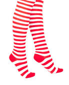 Woman legs in color red socks — Stock Photo