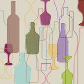 Bottles and wine glasses — Stock Vector