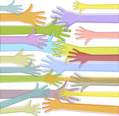 PrintColorful hands reach out — Stock Vector