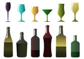 Different bottles and glasses — Stock Vector