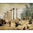 Stock Photo: Ancient greek ruins - vintage picture