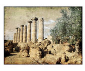 Ancient greek ruins - vintage picture — Stock Photo