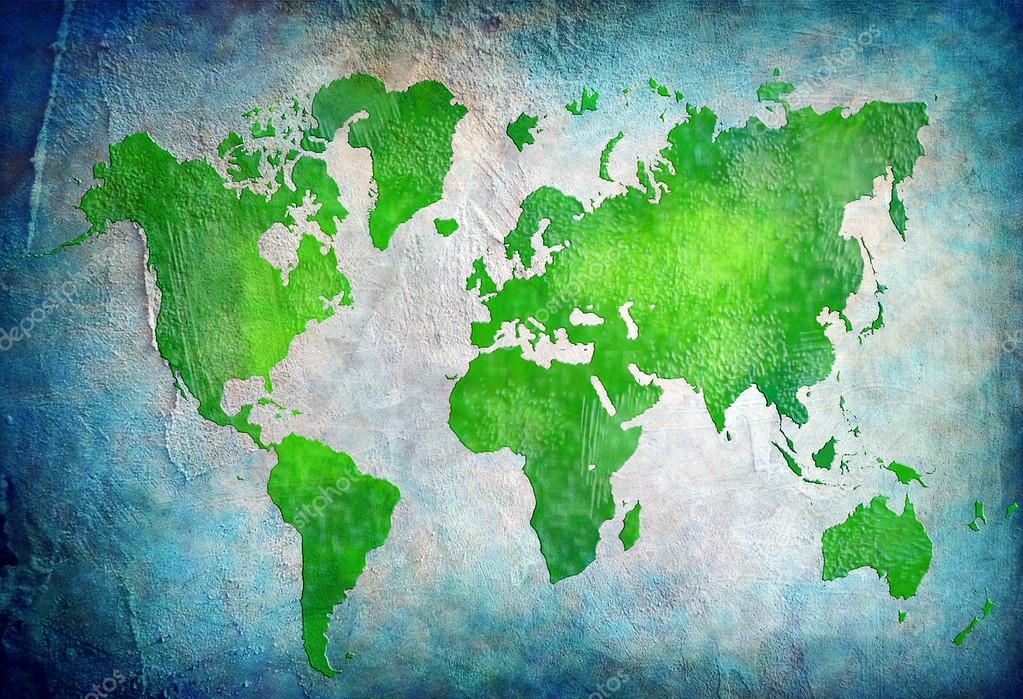 蓝色背景复古世界地图