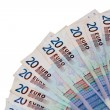 Fan of euro bank notes — Stock Photo