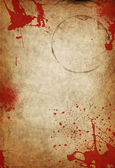 Paper with blood stains and mug circle — Stock Photo