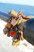 Love locks detail — Stock Photo