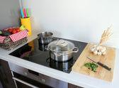 Cooking modern kitchen — Stock Photo
