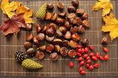 Herbstlaub und Essen auf Tisch — Stockfoto