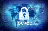 Computer screen with locked padlock — Stock Photo
