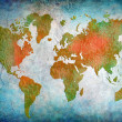 Vintage world map with blue background — Stock Photo
